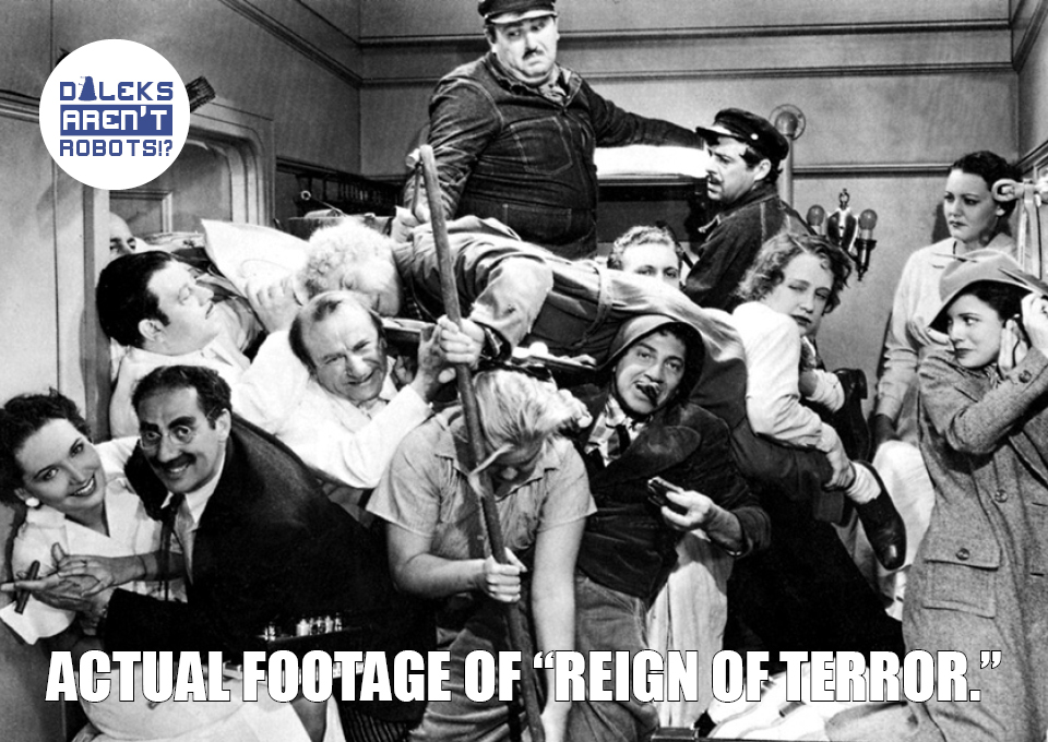 """(Image of the Marx brothers and others jammed into a tiny space) Actual footage of """"Reign of Terror."""""""