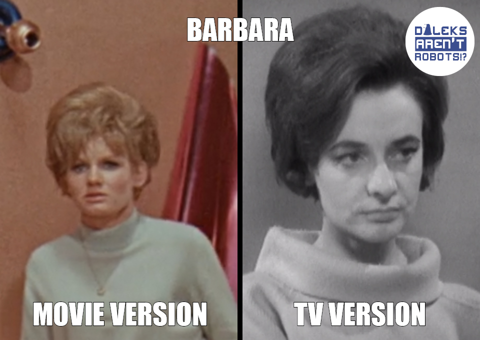 (Image of the teen Barbara from the movie and adult teacher Barbara from the show)