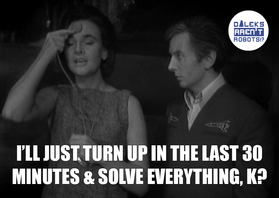(Image of Barbara talking to a man) I'll just turn up in the last 30 minutes and solve everything, K?