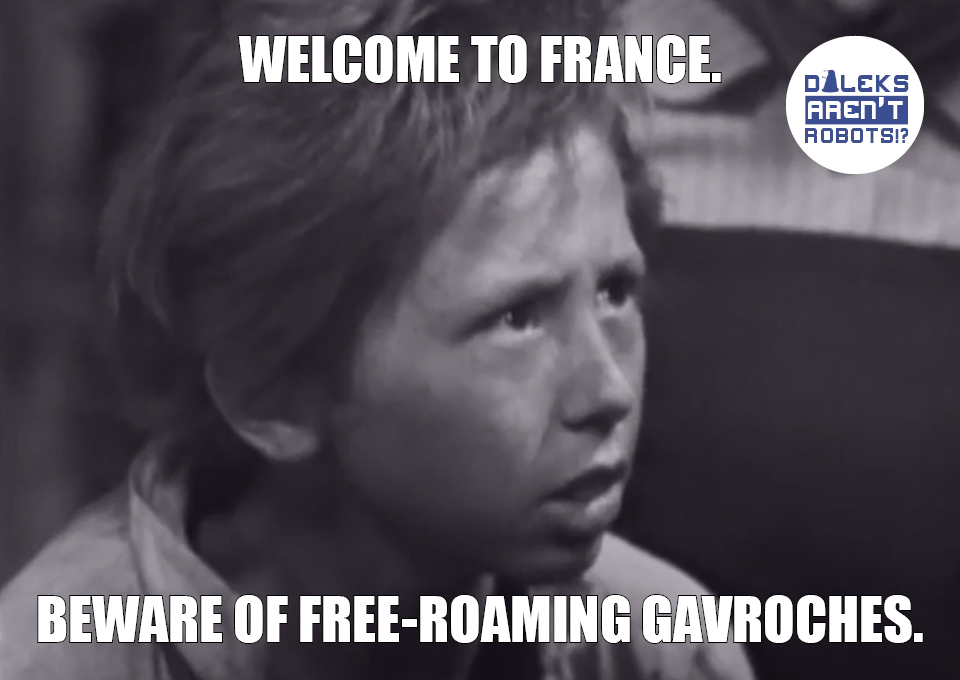 (Image of French child looking worried) Welcome to France. Beware of free-roaming Gavroches.