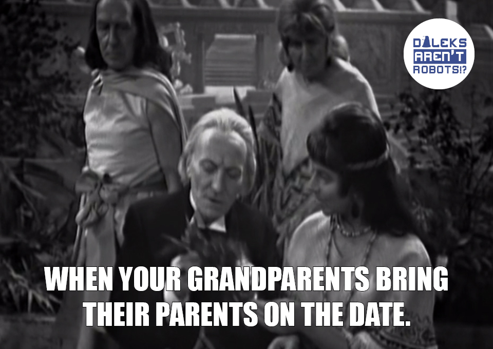 (Image of the Doctor and Cameca sitting on a bench with two old people behind them) When your grandparents bring their parents on the date.