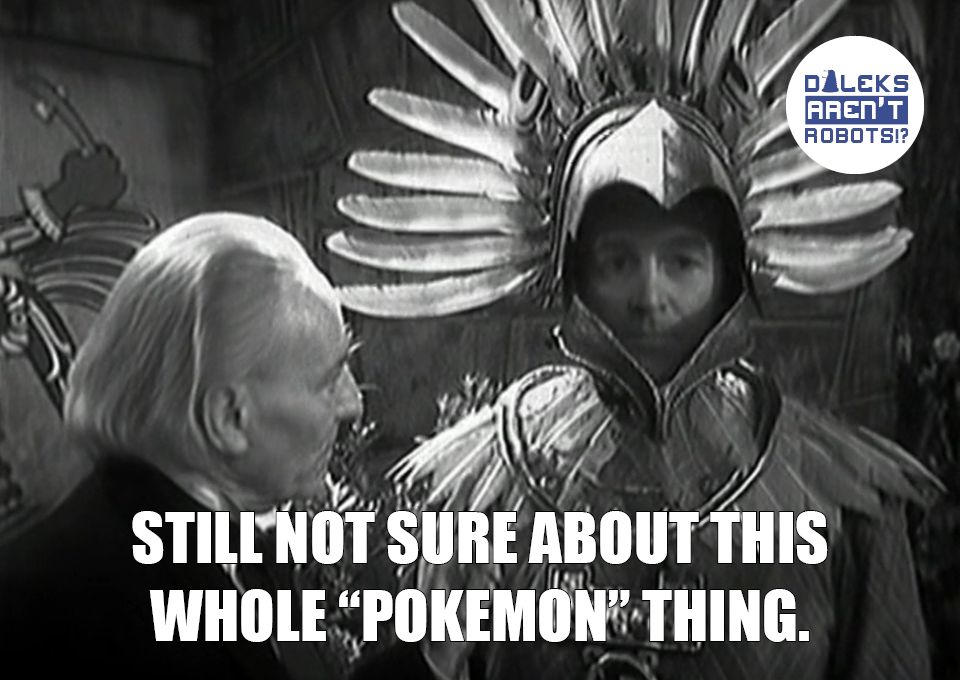 """(Image of the Doctor, with Ian doing a thousand-yard stare and wearing a bird headdress)  Still not sure about this whole """"Pokemon"""" thing."""