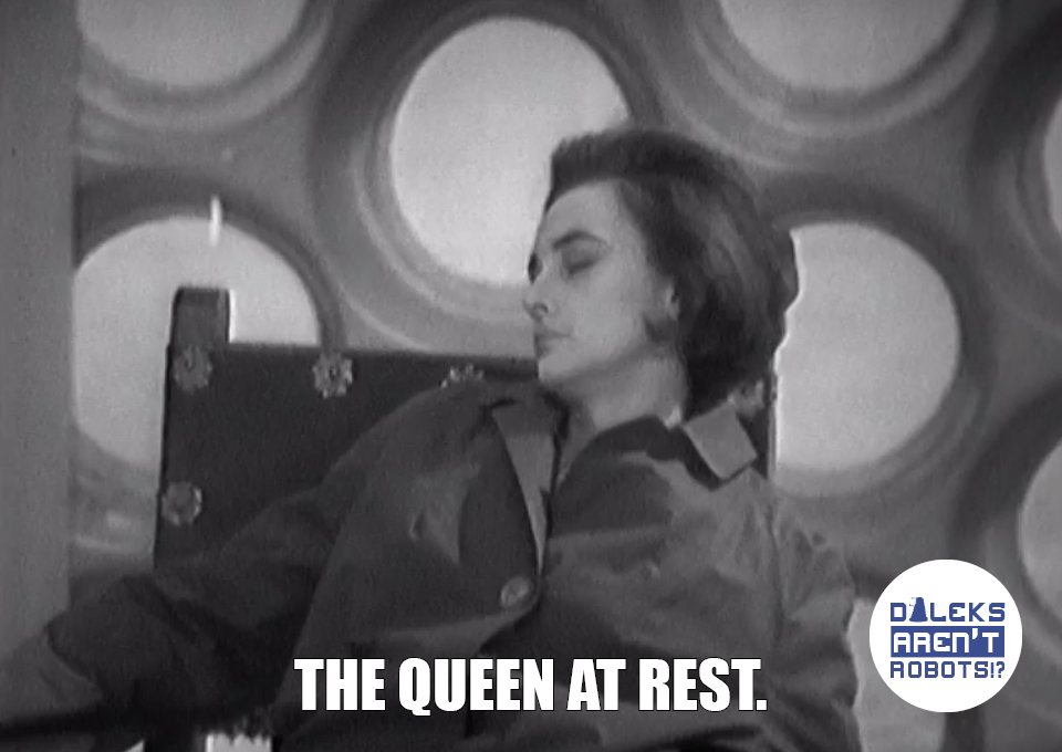(Image of Barbara asleep on a thronelike chair) The Queen at rest.