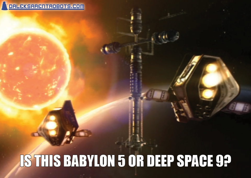 (Image of viewing platform with shuttles and fiery earth) Is this Babylon 5 or Deep Space 9?