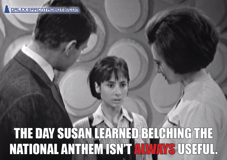 (Image of Ian and Barbara staring at Susan) The day Susan learned belching the national anthem isn't ALWAYS useful.