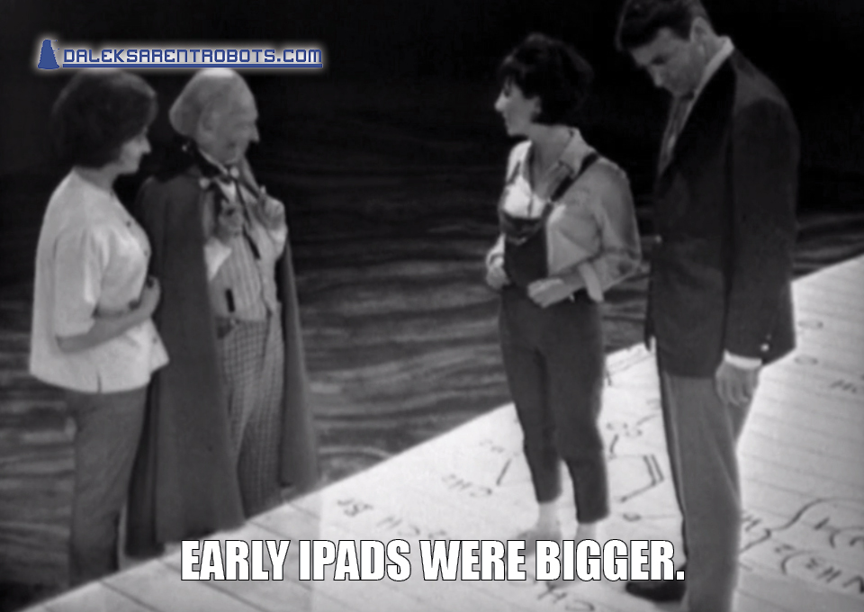 (Image of Susan and Ian standing on a giant notepad) Early iPads were bigger.
