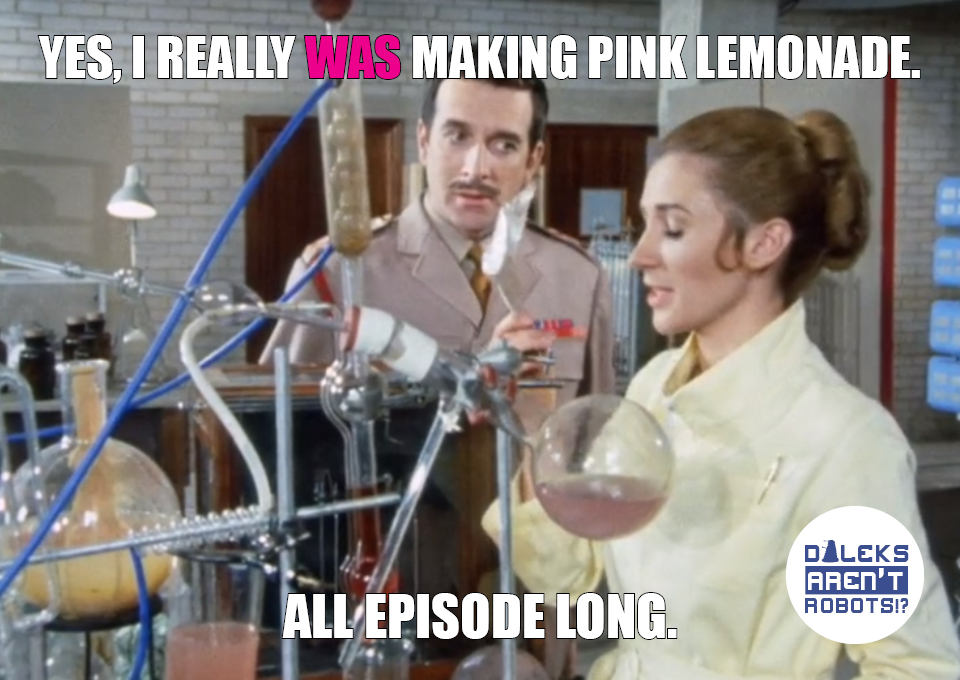 (Image of Liz doing science with many colored fluids in beakers) Yes, I really WAS making pink lemonade. All episode long.