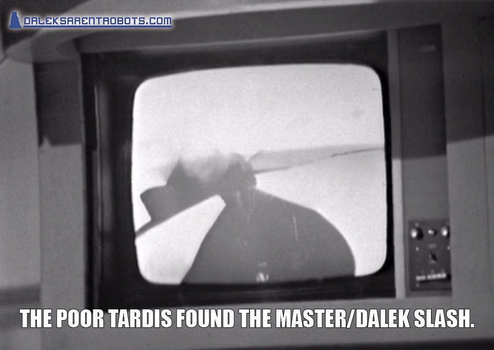 (Image of broken screen) The poor TARDIS found the Master/Dalek slash.