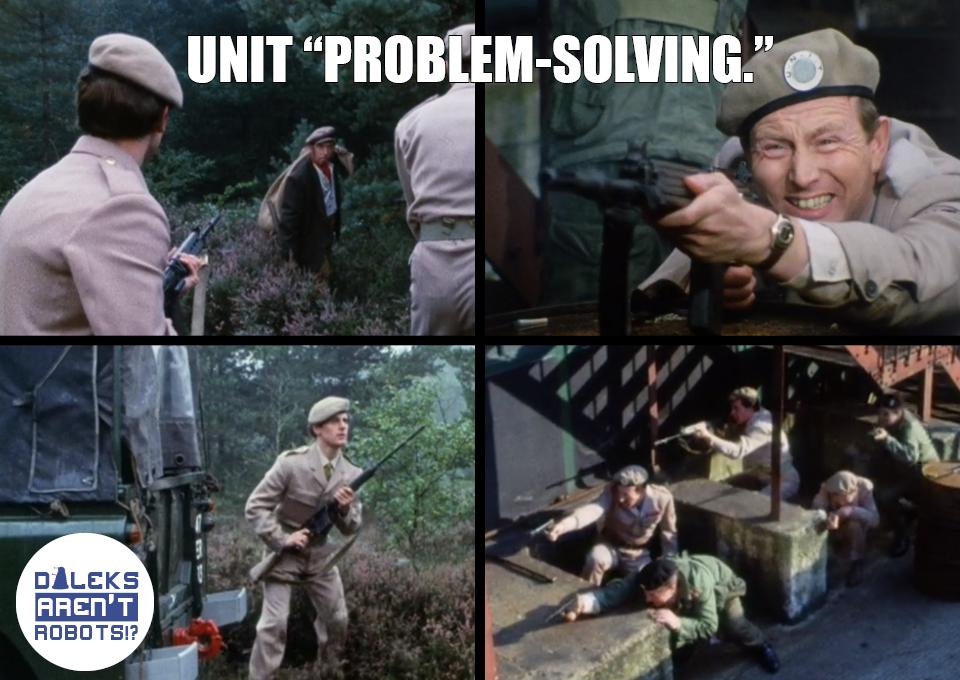 """(4 Images of UNIT soldiers shooting guns) UNIT """"problem-solving."""""""
